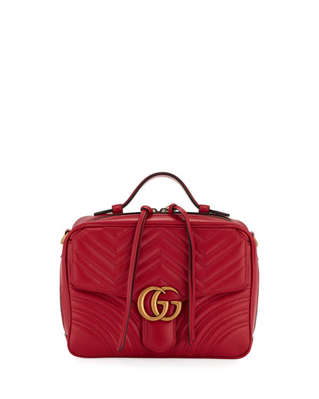 bd65304de7cc5b Gucci GG Marmont Small Chevron Quilted Leather Top-Handle Camera Bag with  Web Strap
