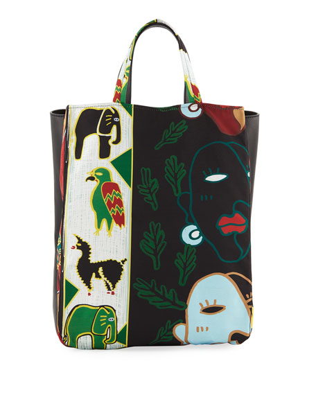 FACES PRINTED TOTE BAG