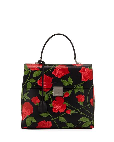 8de349d9c71a Michael Kors Collection Stemmed Roses Leather Top Handle Bag