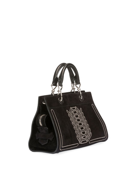 Shadow Suede Studded Tote Bag