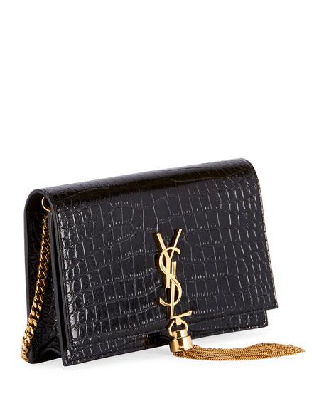 Kate Monogram YSL Tassel Croco Wallet on Chain Bag - Golden Hardware