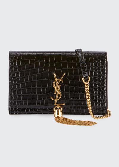 affb93fa7 Kate Monogram YSL Tassel Croco Wallet on Chain Bag - Golden Hardware Quick  Look. Saint Laurent