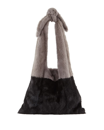 Furrissima Colorblock Mink Fur Sac Tote Bag, Black/Gray