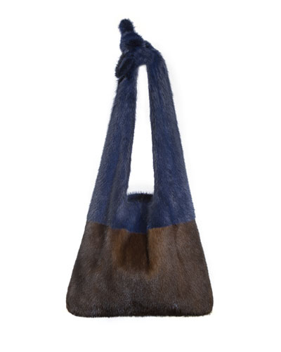 Furrissima Colorblock Mink Fur Sac Tote Bag  Brown/Blue