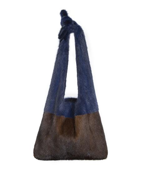 Furrissima Colorblock Mink Fur Sac Tote Bag, Brown/Blue