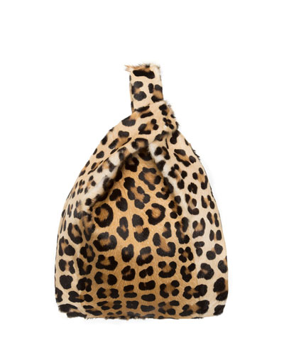 Furrissima Leopard Goat Fur Shopper Tote Bag