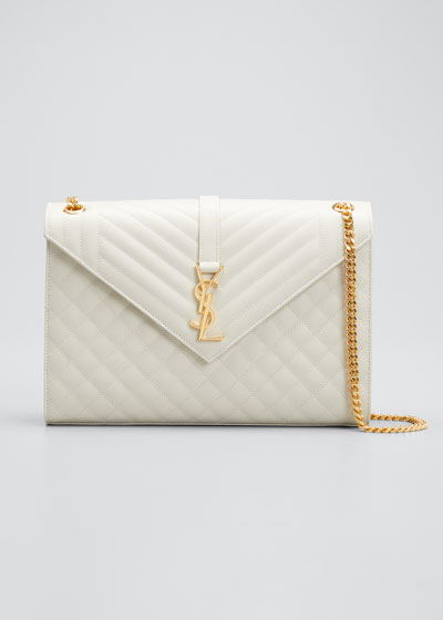 Monogram V-Flap Large Tri-Quilt Envelope Chain Shoulder Bag - Golden Hardware