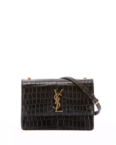 Monogram Sunset Small Chain Croco Shoulder Bag