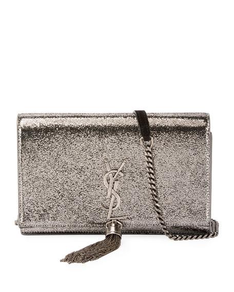 Saint Laurent Kate Monogram YSL Small Crackled Metallic Wallet on Chain -  Silver Hardware e484e0c49b6da