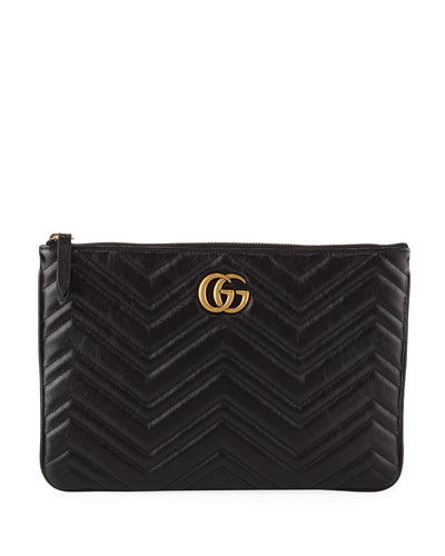 GG Marmont Quilted Leather Zip Pouch Bag