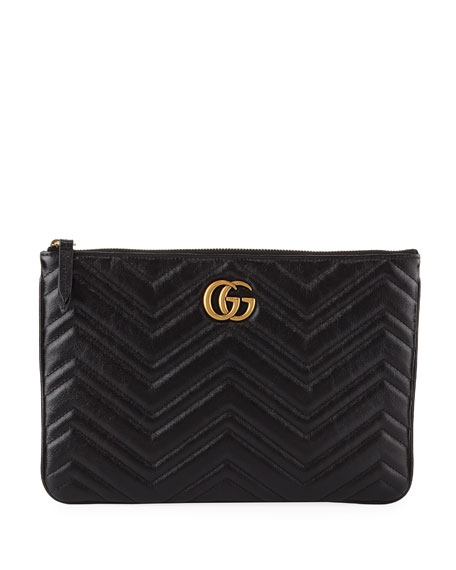 Gg Marmont Quilted Leather Zip Pouch Bag, Black