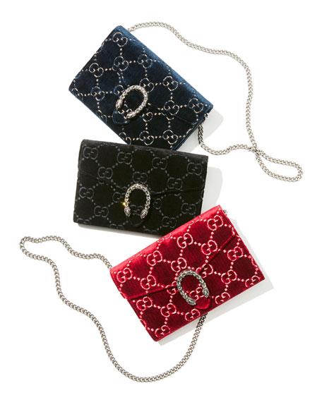 0881470c1d7 Gucci Dionysus Velvet GG Supreme Wallet On Chain