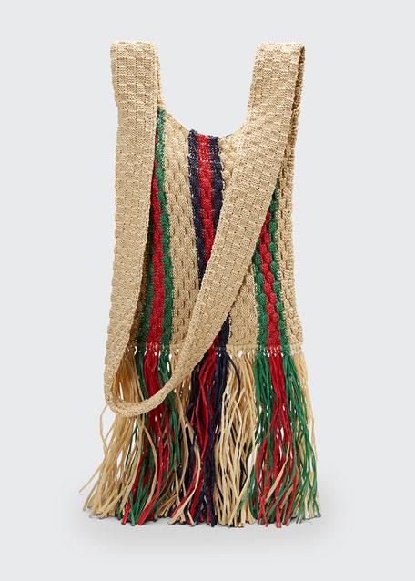 Linea Cestino Woven Fringed Messenger Bag
