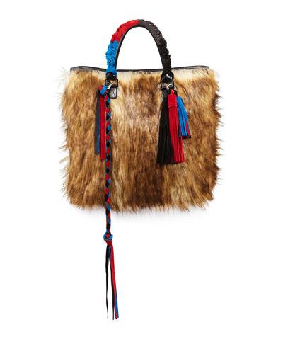 Tassel Furry Crossbody Tote Bag