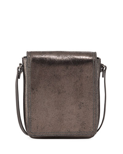 Metallic Leather Crossbody Messenger Bag