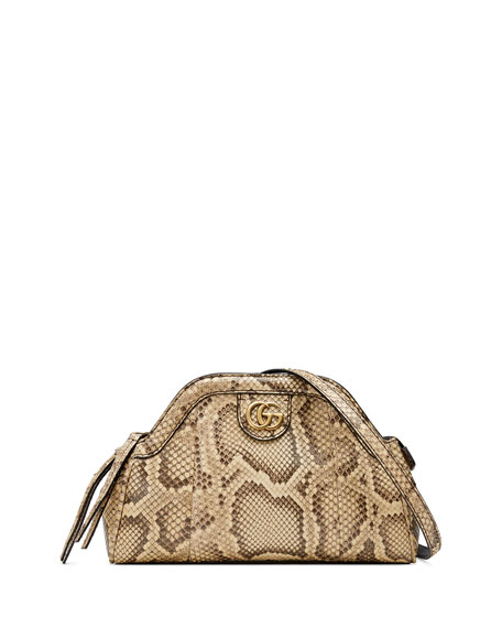 Re(Belle) Python Small Shoulder Bag in Brown