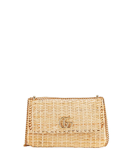 ef0d0691c Gucci Linea Cestino Small Raffia Shoulder Bag