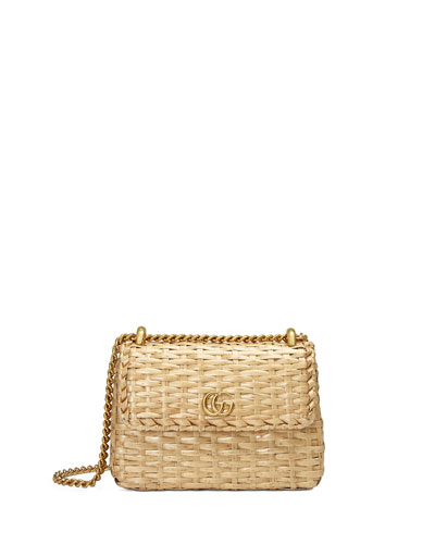 Linea Cestino Mini Natural Straw Shoulder Bag