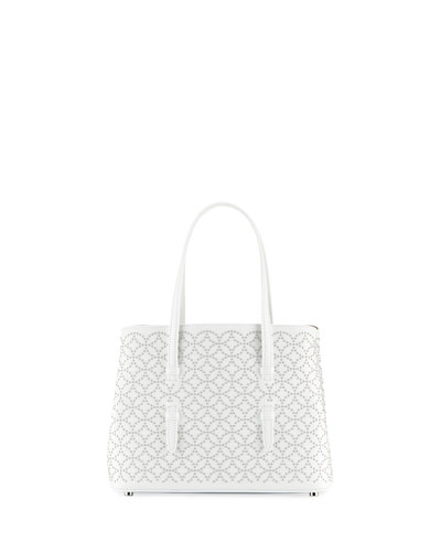 Studded Mini Tote Bag, White
