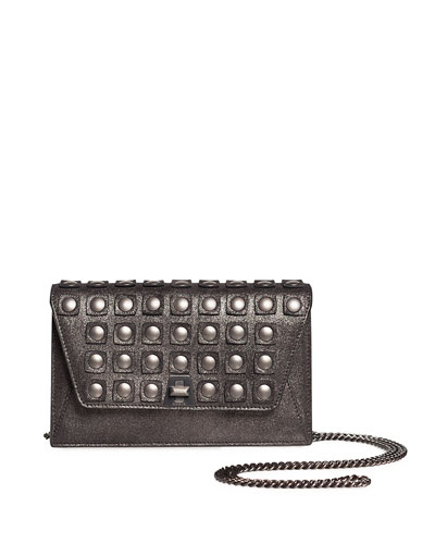 Anouk Grid-Stud Envelope Clutch Bag with Shoulder Chain