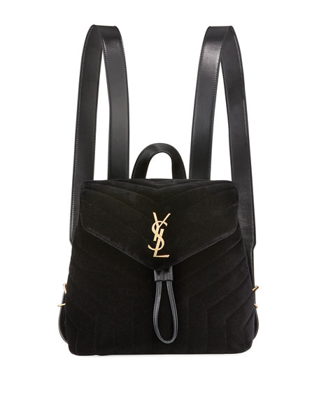 MONOGRAM LOULOU SMALL Y-QUILTED SUEDE BACKPACK