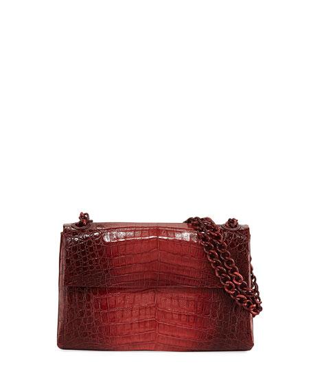 Madison Colorblock Croc Double-Chain Shoulder Bag, Burgundy