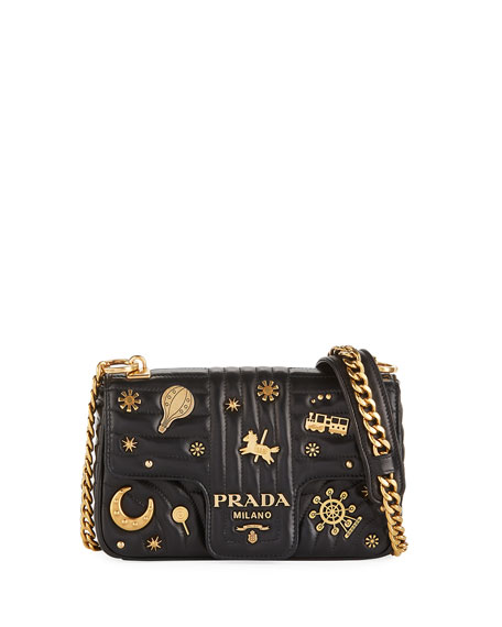 2d90eb5840a9 Prada Small Embellished Diagramme Shoulder Bag with Chain Strap