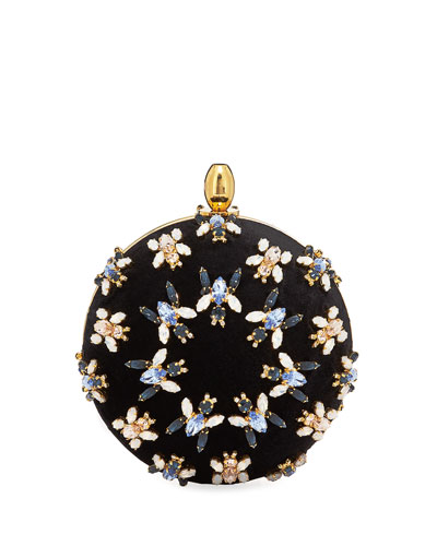 Orb Bugs Embroidered Velvet Clutch Bag
