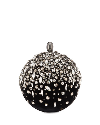 Orb Crystal Embroidered Velvet Clutch Bag