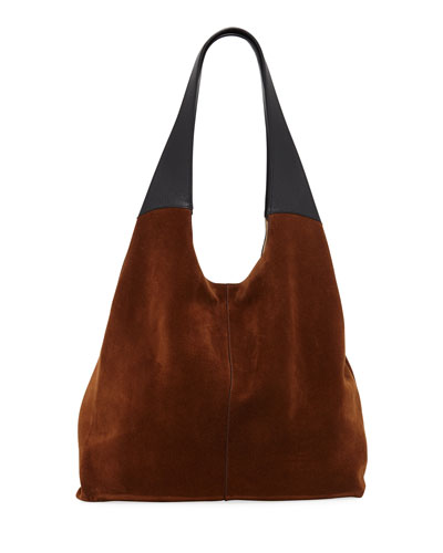Grand Shopper Suede Tote Bag, Brown/Black