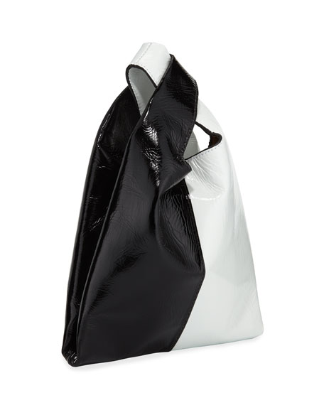 Shiny Mini Shopper Tote Bag, Black/White