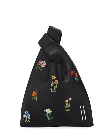 Embroidered Flower Mini Shopper Tote Bag