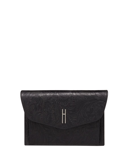 HAYWARD BOBBY BLACK TOOLED LEATHER CLUTCH BAG