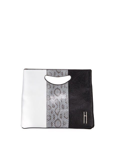 HAYWARD 1712 BASKET COLORBLOCK CLUTCH BAG