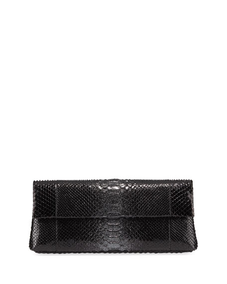 Nancy Gonzalez Gotham Metallic Python Flap Clutch Bag