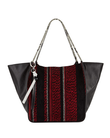Extra-Large Mixed Woven Tote Bag, Red/Black