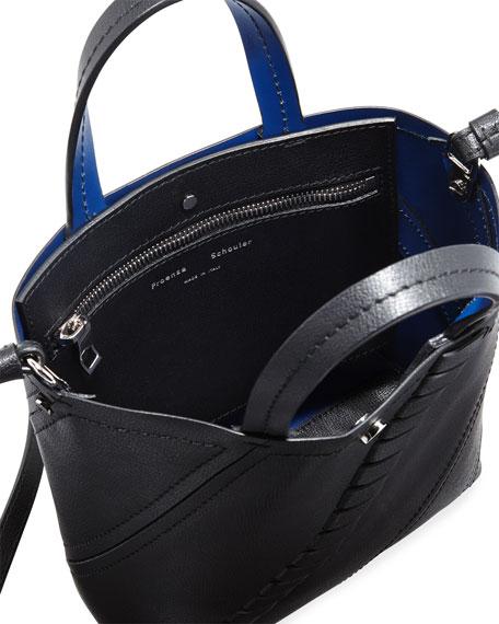 Small Hex Mini Grain Leather Tote Bag