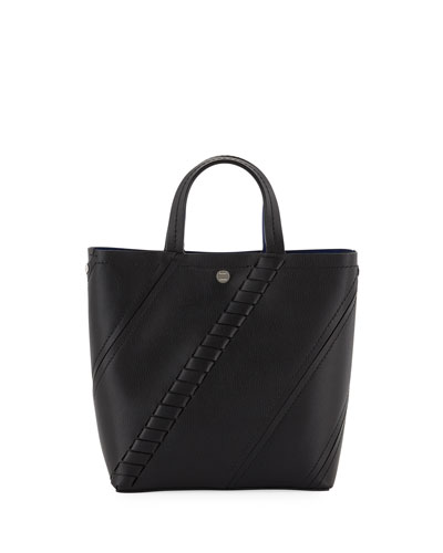 Small Hex Mini Grain Leather Tote Bag