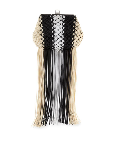 Frame Macrame Clutch Bag with Fringe