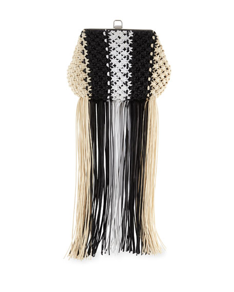 Frame Macrame Clutch Bag With Fringe in Gray Pattern