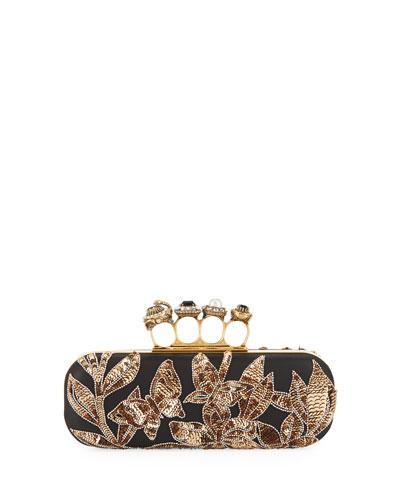 Jeweled Four-Ring Art Nouveau Sequin Box Clutch Bag