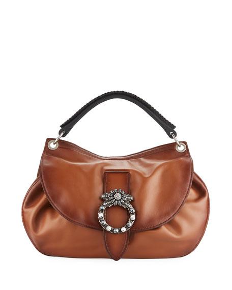 Miu Miu Lady Jeweled Madras Leather Shoulder Bag 9b18d6b933fab