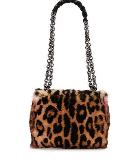 Natalia Large Soft Leopard Fur Shoulder Bag