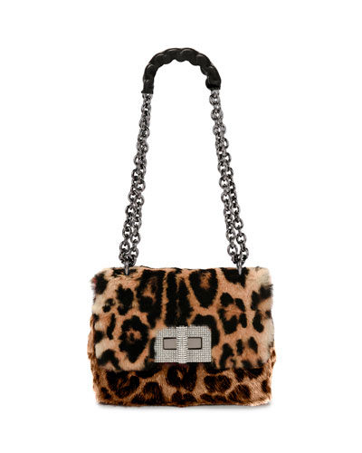 Natalia Large Soft Leopard Fur Shoulder Bag