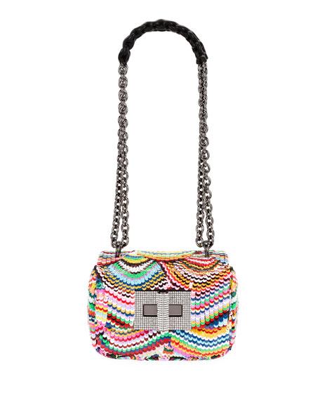 Natalia Small Soft Carioca Embroidered Rainbow Shoulder Bag in Multi