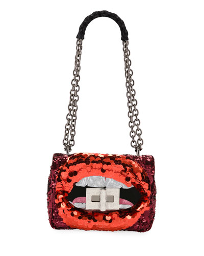 Natalia Large Soft Maxy Lip Sequin Shoulder Bag