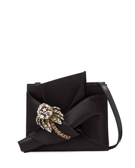 Jeweled Satin Bow Shoulder Bag