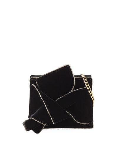 Velvet Jeweled Shoulder Bag