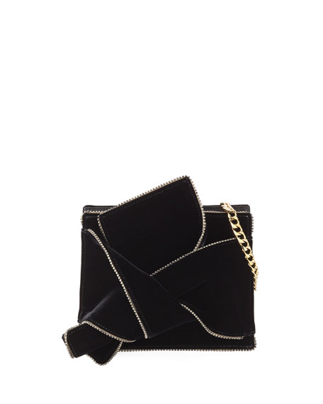 Velvet Jeweled Shoulder Bag