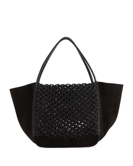 L Woven Leather And Suede Tote in Black/ Black